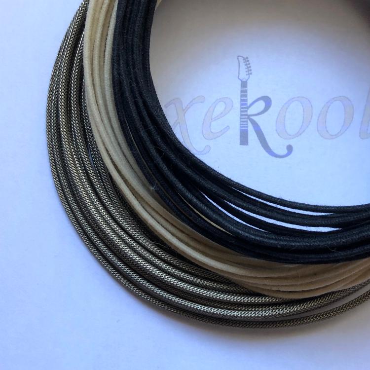 Gavitt® Braided, Cloth Cream & Black Wire